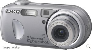 Sony's Cyber-shot DSC-P93 digital camera. Courtesy of Sony, with modifications by Michael R. Tomkins. Click for a bigger picture!