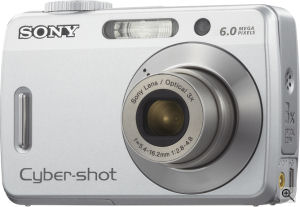 Sony's Cyber-shot DSC-S500 digital camera. Courtesy of Sony, with modifications by Michael R. Tomkins. Click for a bigger picture!