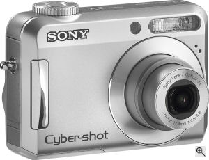 Sony's Cyber-shot DSC-S650 digital camera. Courtesy of Sony, with modifications by Michael R. Tomkins. Click for a bigger picture!