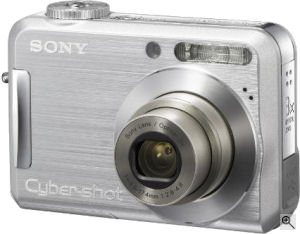Sony's Cyber-shot DSC-S700 digital camera. Courtesy of Sony, with modifications by Michael R. Tomkins. Click for a bigger picture!