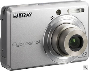 Sony's Cyber-shot DSC-S730 digital camera. Courtesy of Sony, with modifications by Michael R. Tomkins. Click for a bigger picture!