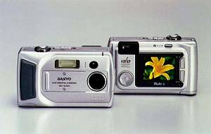 Sanyo's DSC-SX150 digital camera, front and rear views. Courtesy of Sanyo.