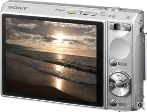 Sony's Cyber-shot DSC-T100 digital camera. Courtesy of Sony, with modifications by Michael R. Tomkins. Click for a bigger picture!