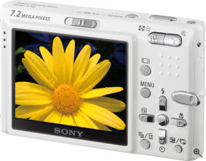 Sony's Cyber-shot DSC-T10 digital camera. Courtesy of Sony, with modifications by Michael R. Tomkins. Click for a bigger picture!