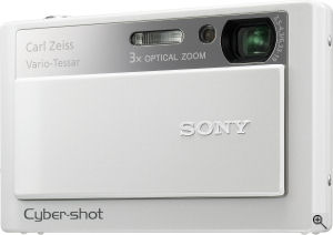 Sony's Cyber-shot DSC-T20 digital camera. Courtesy of Sony, with modifications by Michael R. Tomkins. Click for a bigger picture!