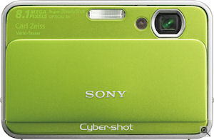 Sony's Cyber-shot DSC-T2 digital camera. Courtesy of Sony, with modifications by Michael R. Tomkins. Click for a bigger picture!