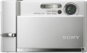 Sony's Cyber-shot DSC-T30 digital camera. Courtesy of Sony, with modifications by Michael R. Tomkins. Click for a bigger picture!