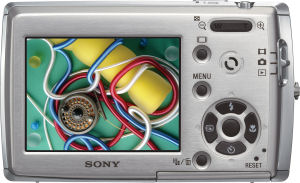 Sony's Cyber-shot DSC-T33 digital camera. Courtesy of Sony, with modifications by Michael R. Tomkins. Click for a bigger picture!