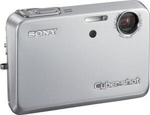 Sony's Cyber-shot DSC-T3 digital camera. Courtesy of Sony, with modifications by Michael R. Tomkins. Click for a bigger picture!