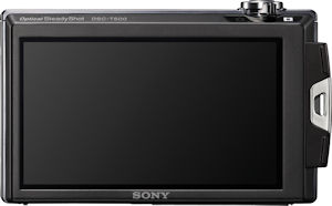 Sony's Cyber-shot DSC-T500 digital camera. Courtesy of Sony, with modifications by Michael R. Tomkins. Click for a bigger picture!
