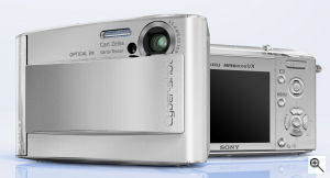 Sony's Cyber-shot DSC-T5 digital camera. Courtesy of Sony, with modifications by Michael R. Tomkins. Click for a bigger picture!