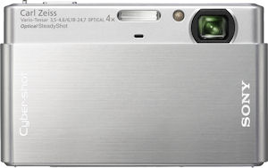 Sony's Cyber-shot DSC-T77 digital camera. Courtesy of Sony, wih modifications by Michael R. Tomkins. Click for a bigger picture!