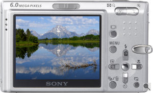 Sony's Cyber-shot DSC-T9 digital camera. Courtesy of Sony, with modifications by Michael R. Tomkins. Click for a bigger picture!