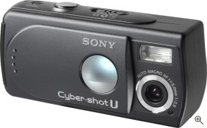 Sony's Cyber-shot U DSC-U30 digital camera. Courtesy of Sony, with modifications by Michael R. Tomkins. Click for a bigger picture!