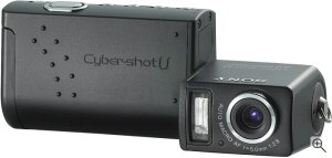 Sony's Cyber-shot DSC-U50 digital camera. Courtesy of Sony, with modifications by Michael R. Tomkins. Click for a bigger picture!