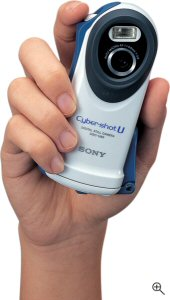 Sony's Cyber-shot U DSC-U60 digital camera. Courtesy of Sony, with modifications by Michael R. Tomkins. Click for a bigger picture!