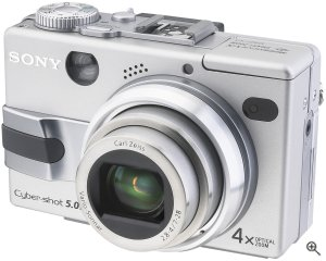 Sony's Cyber-shot DSC-V1 digital camera. Courtesy of Sony, with modifications by Michael R. Tomkins. Click for a bigger picture!