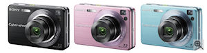 Sony's Cyber-shot DSC-W120 digital camera. Courtesy of Sony, with modifications by Michael R. Tomkins. Click for a bigger picture!