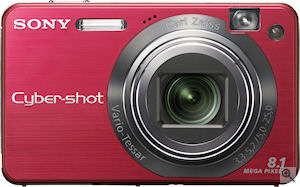 Sony's Cyber-shot DSC-W150 digital camera. Courtesy of Sony, with modifications by Michael R. Tomkins. Click for a bigger picture!