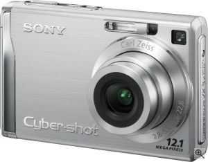 Sony's Cyber-shot DSC-W200 digital camera. Courtesy of Sony, with modifications by Michael R. Tomkins. Click for a bigger picture!