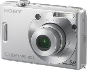 Sony's Cyber-shot DSC-W30 digital camera. Courtesy of Sony, with modifications by Michael R. Tomkins. Click for a bigger picture!