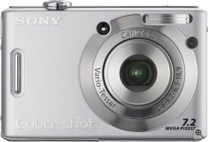 Sony's Cyber-shot DSC-W35 digital camera. Courtesy of Sony, with modifications by Michael R. Tomkins. Click for a bigger picture!