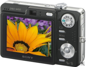Sony's Cyber-shot DSC-W50 digital camera. Courtesy of Sony, with modifications by Michael R. Tomkins. Click for a bigger picture!