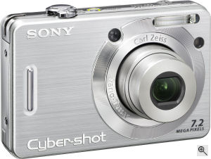Sony's Cyber-shot DSC-W55 digital camera. Courtesy of Sony, with modifications by Michael R. Tomkins. Click for a bigger picture!