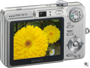Sony's Cyber-shot DSC-W70 digital camera. Courtesy of Sony, with modifications by Michael R. Tomkins. Click for a bigger picture!