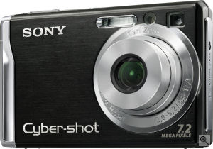Sony's Cyber-shot DSC-W80 digital camera. Courtesy of Sony, with modifications by Michael R. Tomkins. Click for a bigger picture!