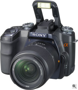Sony's Alpha DSLR-A100 digital SLR. Courtesy of Sony, with modifications by Michael R. Tomkins. Click for a bigger picture!