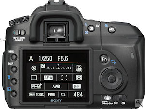 Sony's Alpha DSLR-A200. Courtesy of Sony, with modifications by Michael R. Tomkins. Click for a bigger picture!