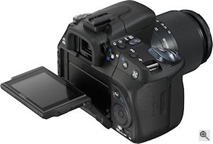 Sony's Alpha DSLR-A300 digital SLR. Courtesy of Sony, with modifications by Michael R. Tomkins. Click for a bigger picture!