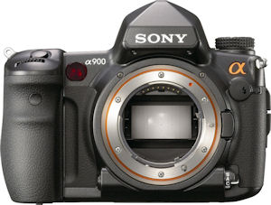 Sony's Alpha DSLR-A900 digital SLR. Courtesy of Sony, with modifications by Michael R. Tomkins. Click for a bigger picture!