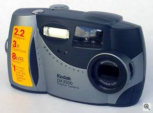 Kodak's DX3500 digital camera, upper front left quarter view. Courtesy of an anonymous reader - click for a bigger picture!