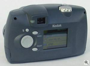 Kodak's DX3500 digital camera, upper rear view. Courtesy of an anonymous reader - click for a bigger picture!