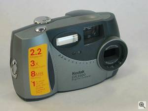 Kodak's DX3500 digital camera, upper front right quarter view. Courtesy of an anonymous reader - click for a bigger picture!