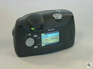 Kodak's DX3500 digital camera, upper rear left quarter view. Courtesy of an anonymous reader - click for a bigger picture!