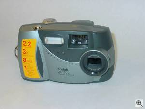 Kodak's DX3500 digital camera, upper front view. Courtesy of an anonymous reader - click for a bigger picture!