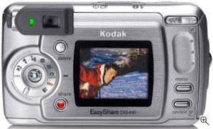 Kodak's EasyShare DX6440 digital camera. Courtesy of Kodak, with modifications by Michael R. Tomkins. Click for a bigger picture!