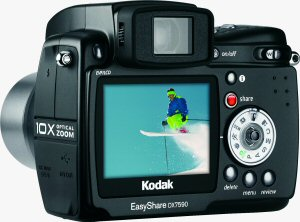 Kodak's EasyShare DX7590 digital camera. Courtesy of Eastman Kodak Co., with modifications by Michael R. Tomkins. Click for a bigger picture!