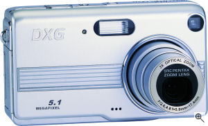DXG's Model 528 digital camera. Courtesy of DXG, with modifications by Michael R. Tomkins. Click for a bigger picture!
