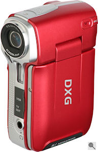 DXG's DXG-565V flash-based camcorder. Courtesy of DXG, with modifications by Michael R. Tomkins. Click for a bigger picture!