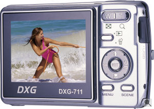 DXG's Model 711 digital camera. Courtesy of DXG, with modifications by Michael R. Tomkins. Click for a bigger picture!