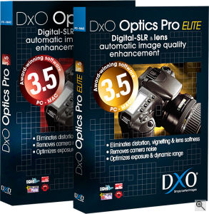DxO Optics Pro v3.5 packaging. Courtesy of DxO, with modifications by Michael R. Tomkins. Click for a bigger picture!