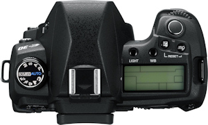 Olympus' E-30 digital SLR. Courtesy of Olympus, with modifications by Michael R. Tomkins. Click for a bigger picture!