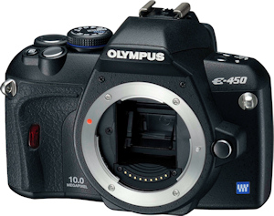 Olympus' E-450 digital SLR. Photo provided by Olympus Imaging America Inc. Click for a bigger picture!