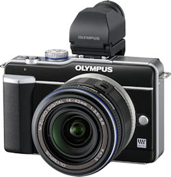 Olympus' PEN E-PL1 digital camera, shown with optional electronic viewfinder accessory. Photo provided by Olympus Europa Holding GmbH. Click for a bigger picture!