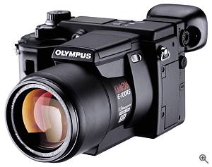 Olympus' E-100RS SLR-style digital camera, front left quarter view.  Courtesy of Olympus - click for a bigger picture!