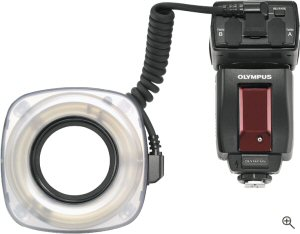 Olympus' Ring Flash for the E-System. Courtesy of Olympus, with modifications by Michael R. Tomkins. Click for a bigger picture!